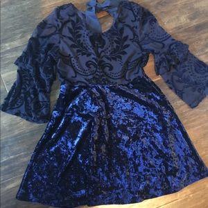 Blue velvet lace dress